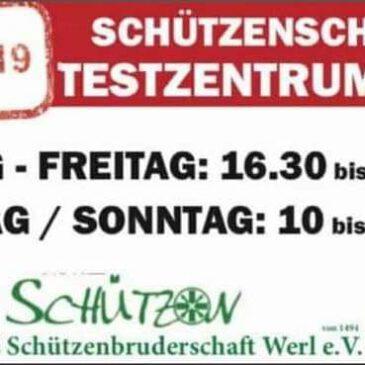 Öffnungszeiten Testzentrum zu Pfingsten 10 – 13 Uhr.